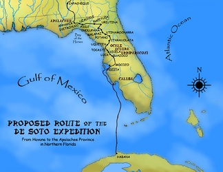 A proposed route for the first leg of the de Soto Expedition, based on Charles M. Hudson map of 1997