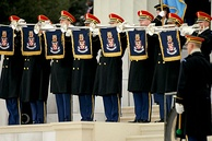 The Army Herald Trumpets, the official fanfare ensemble for the President of the United States in 2009.