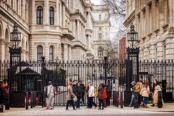 Gates at the main entrance of Downing Street