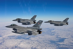 Polish Air Force F-16s, a single-engine multirole fighter aircraft