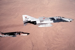 Egyptian Air Force F-4E Phantom IIs of the 222nd Tactical Fighter Brigade in formation with a U.S. Air Force 347th Tactical Fighter Wing F-4E Phantom II during exercise Proud Phantom