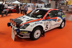 Colin McRae & Nicky Grist's 2002 Ford Focus RS WRC at the Autosport Show, January 2013