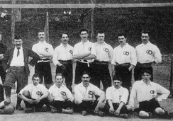 France team that played its first international v Belgium in 1904, wearing the white shirt with the rings emblem