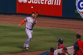 Stanton makes a catch during a game against the St. Louis Cardinals in 2016.