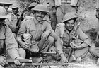 Indian infantrymen of the 7th Rajput Regiment about to go on patrol on the Arakan front in Burma, 1944.