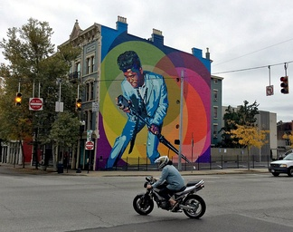 "A mural of James Brown, titled ""Mr. Dynamite"", in the Over-the-Rhine neighborhood of Cincinnati, Ohio where he produced some of his earliest hits for King Records"