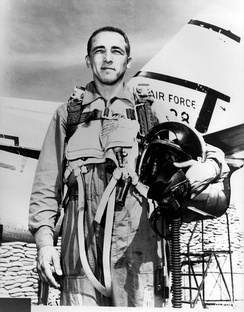 Risner posed with an F-86.