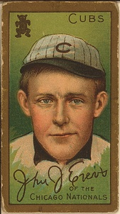 A 1911 Johnny Evers T205 Tobacco Card