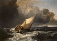 Dutch Boats in a Gale, 1801, oil on canvas. For his painting Turner drew inspiration from the art of Willem van de Velde the Younger