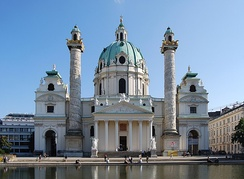 Karlskirche located on the south side of Karlsplatz in the 1st city district