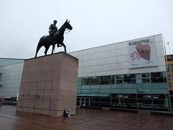 An equestrian statue of Marshal C. G. E. Mannerheim carved by Aimo Tukiainen and unveiled in 1960, among the Mannerheimintie street in Helsinki, Finland