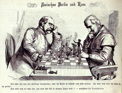 """Between Berlin and Rome"", with Bismarck on the left and the Pope on the right. Kladderadatsch, 1875"