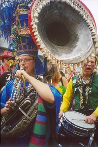 Costumed sousaphone player, New Orleans, Mardi Gras Day 2005
