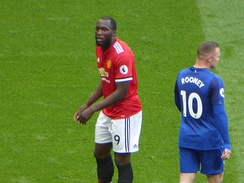Rooney (pictured with Manchester United striker Romelu Lukaku in September 2017) retained the number 10 jersey at club level when he moved to Everton in July 2017