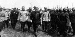 Marshal Joffre inspecting Romanian troops, 1916