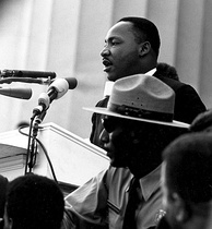 "Martin Luther King Jr. gives his famous ""I Have a Dream"" speech at the Lincoln Memorial during the March on Washington, 1963"