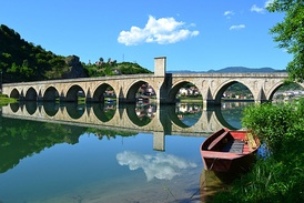 Mehmed Paša Sokolović Bridge in Višegrad, Mehmed's most famous endowment from 1577. Masterpiece of architect Mimar Sinan.