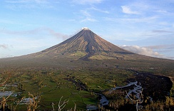 Mayon Volcano in the Philippines has a symmetrical volcanic cone.