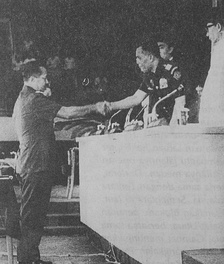 Nasution congratulating General Suharto on his appointment as the acting president, 12 March 1967
