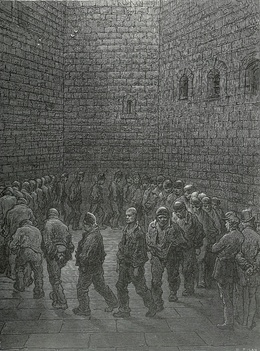 Gustave Doré's image of the exercise yard at Newgate Prison (1872)