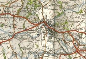 1948 Ordnance Survey map showing the location of Ightenhill Manor (on the eastern part of the map)