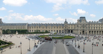 Place du Carrousel from the southern wing of the Louvre Palace. The Arc de Triomphe du Carrousel is on the left