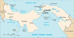Location of Panama between Pacific (bottom) and Caribbean (top), with canal at top center