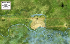 An overview of the Poverty Point site showing the locations of the nearby Motley and Lower Jackson mounds