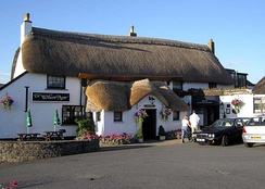 A thatched country pub, The Williams Arms, near Braunton, Devon, England