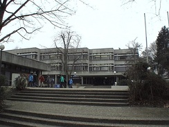 Reuchlin-Gymnasium (Reuchlin-Highschool) today near the water tower