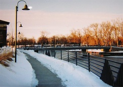 Elkhart's downtown riverwalk on a wintry evening.