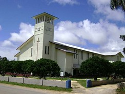 Saione, the church of the King, a Free Wesleyan Church in Kolomotuʻa, Tonga. Especially British and American missionaries brought various Protestant denominations to Oceania.