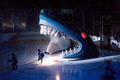 Sharks pre-game entrance through the Shark's mouth
