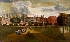 "The Palace of Whitehall by Hendrick Danckerts c. 1660–1679. Viewed from St James's Park, the ""House at the Back"" is on the right; the octagonal building next to it is the Cockpit."