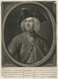 Thomas Walker who created the role of Macheath in The Beggar's Opera, in character in a 1728 engraving