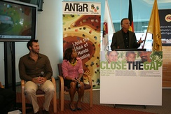 From left: Ian Thorpe, Cathy Freeman and Jeff McMullen were among some of the speakers at the Close the Gap launch in 2007. The campaign aims to achieve health equality between indigenous and non-indigenous Australia.