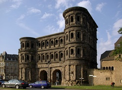 The Porta Nigra of Trier, capital of Gallia Belgica, constructed between 186 and 200 AD