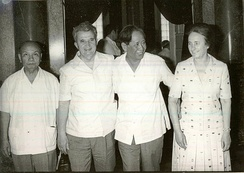 Lê Duẩn and Trường Chinh with Nicolae and Elena Ceaușescu from the Socialist Republic of Romania