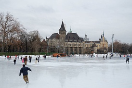 The City Park Ice Rink located in the City Park, the Vajdahunyad Castle is in the background