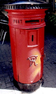 A Victorian post box of standard 1887 UK design in use in Gibraltar's Main Street (2008).