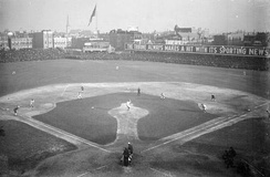 "1906 World Series, infielders playing ""in"" for the expected bunt and the possible play at the plate with the bases loaded, the same strategy 112 years ago as now."