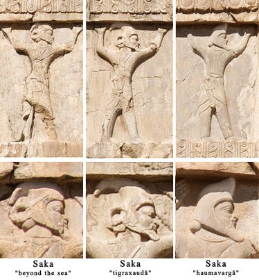 "Reliefs depicting the soldiers of the Achaemenid army, Xerxes I tomb, circa 480 BCE. The Achaemenids referred to all nomads to their north as Saka,[25] and divided them into three categories: The Sakā tayai paradraya (""beyond the sea"", presumably the Scythians), the Sakā tigraxaudā (""with pointed caps""), and the Sakā haumavargā (""Hauma drinkers"", furthest East).[37]"