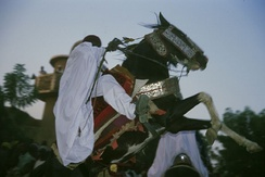 Horsemen at the traditional Ramadan festival at the Sultan's Palace in the Hausa city of Zinder.