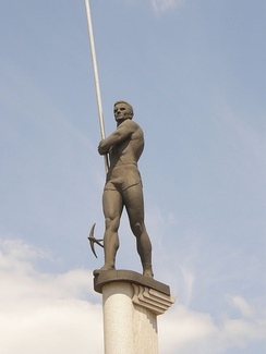 The statue of pole vault legend Serhii Bubka which stands in Donetsk near the RSC Olimpiyskiy.