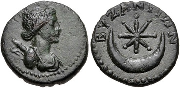 Byzantine coin (1st century) with a bust of Artemis on the obverse and an eight-rayed star within a crescent on the reverse side.