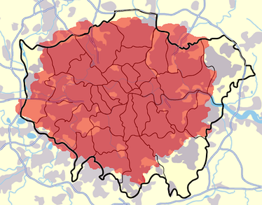 The urban area of London (grey) extends beyond the London boundary. The M25 is also shown. The 020 telephone dialling code is shown in red.