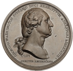 "The obverse of the ""Washington Before Boston"" medal was the first medallic use of Houdon's bust."