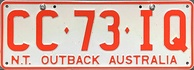 Northern Territory number plate