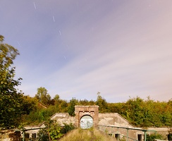 A photograph of Fort du Salbert taken by moonlight with an exposure time of ten minutes.