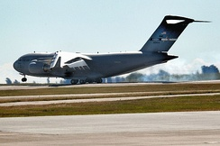 The newest Boeing C-17A Globemaster III, 06-6164, arrives at Travis AFB